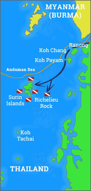 Map of the scuba diving/snorkel destinations with the Surin Islands, Richelieu Rock, Koh Tcahai, Koh Phayam, Koh Chang Noi and Ranong in Southern Thailand